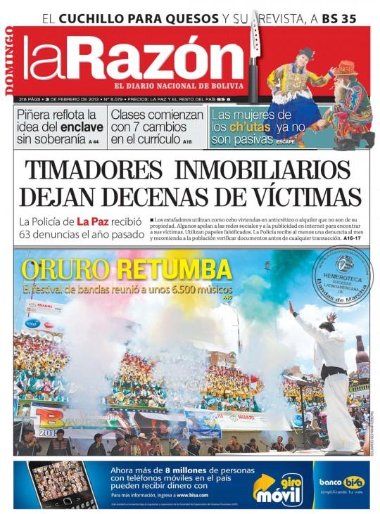 La-Razon-Bolivia-Portada-3-02-2013-Oruro-retumba-Festival-de-Bandas-Carnaval
