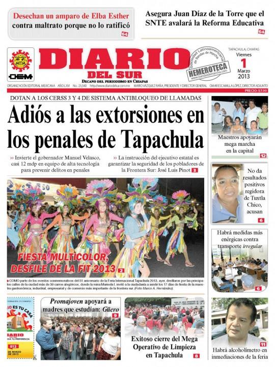 Diario-del-Sur-Mexico-Chiapas-Feria-2013-bailarinas-banda-pedro-molina-Guatemala-portada