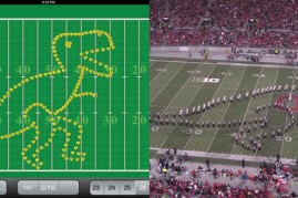 With the help of an iPad app, left, Ohio State's marching band can better prepare for its halftime performances. (Screenshots courtesy of Ryan Barta and Ohio State marching band)