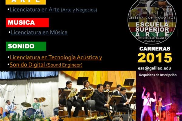 Guatemala: Carreras 2015 Escuela Superior de Arte, Universidad Galileo