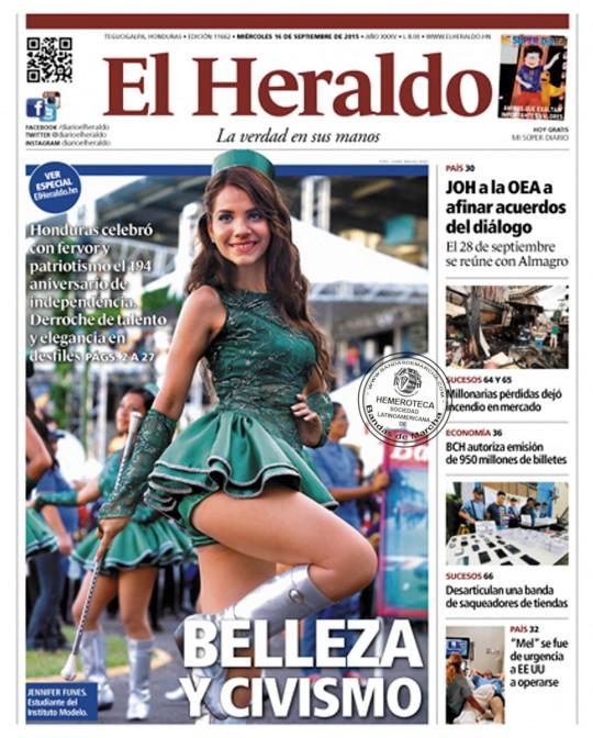 El-Heraldo-Honduras-portada-16-de-septiembre-2016-fiestas-patrias