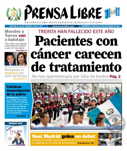 Prensa-Libre-Guatemala-portada-16-de-septiembre-2016-fiestas-patrias
